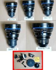 SOLD! Zeiss CP1 Prime Lenses 18mm,28mm,35mm,50mm & 85mm  Full Frame PL Mount with & Zacuto Follow Focus